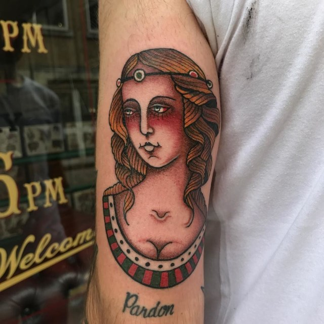 traditional ladyhead tattoo 41
