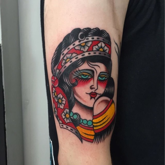 traditional ladyhead tattoo 42