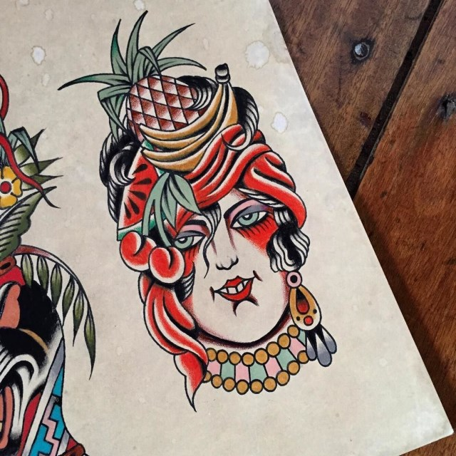traditional ladyhead tattoo 45