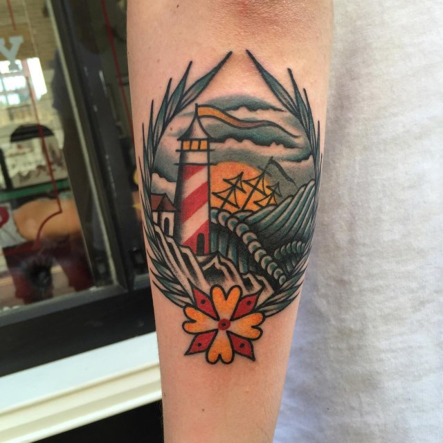 traditional lighthouse tattoo 01