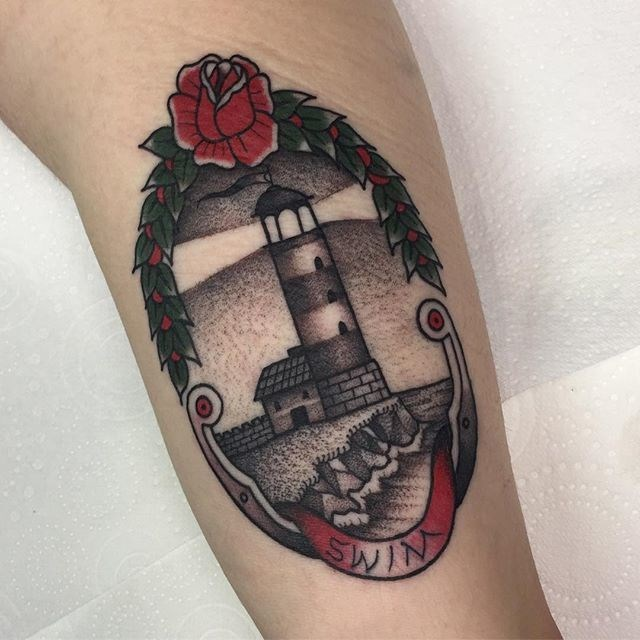 traditional lighthouse tattoo 05