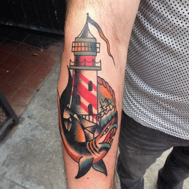 traditional lighthouse tattoo 09