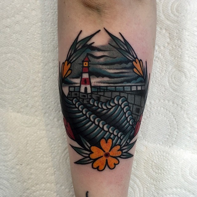 traditional lighthouse tattoo 10