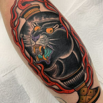 Traditional Magic Panther Tattoo