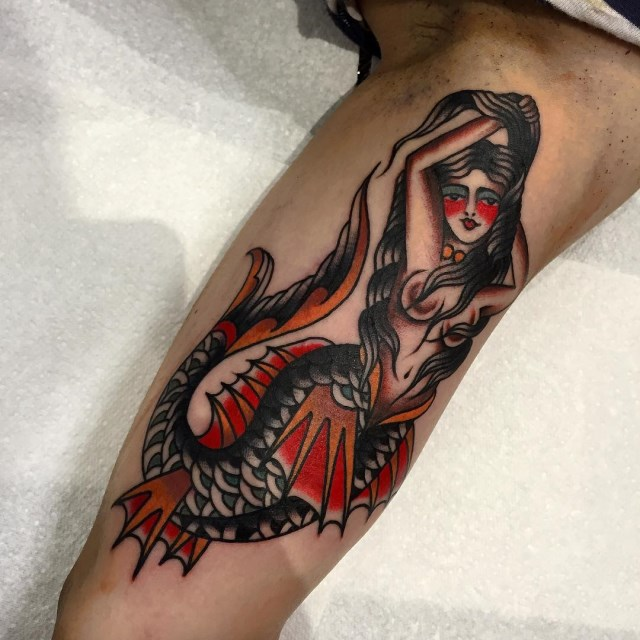 Neo Traditional Mermaid Tattoo: Cloak And Dagger Tattoo Parlour London