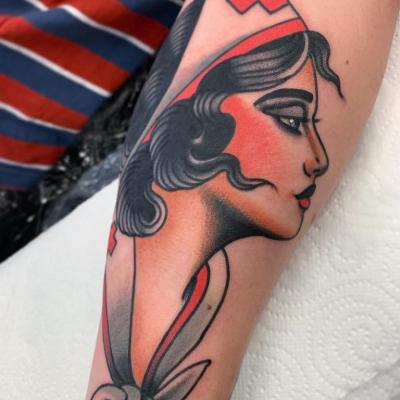 Traditional Nurse Head Tattoo