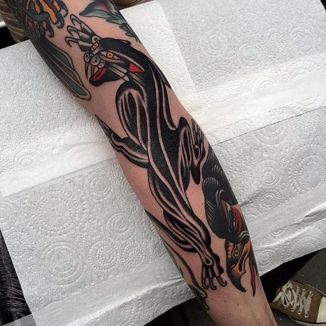 traditional panther tattoo 02