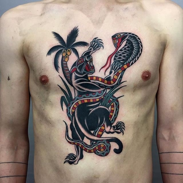 traditional panther tattoo 04