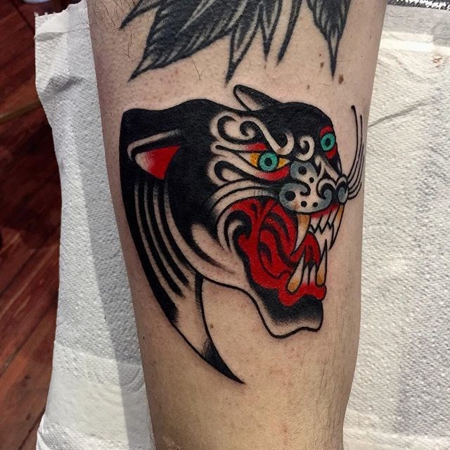 traditional panther tattoo 27