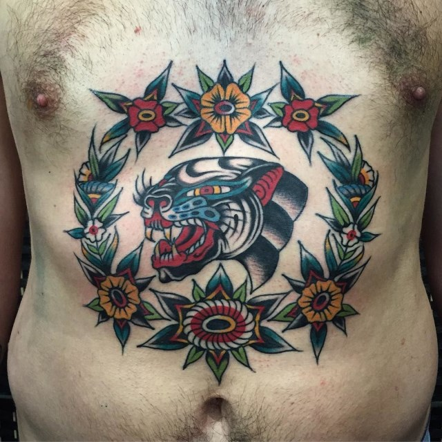 traditional panther tattoo 33