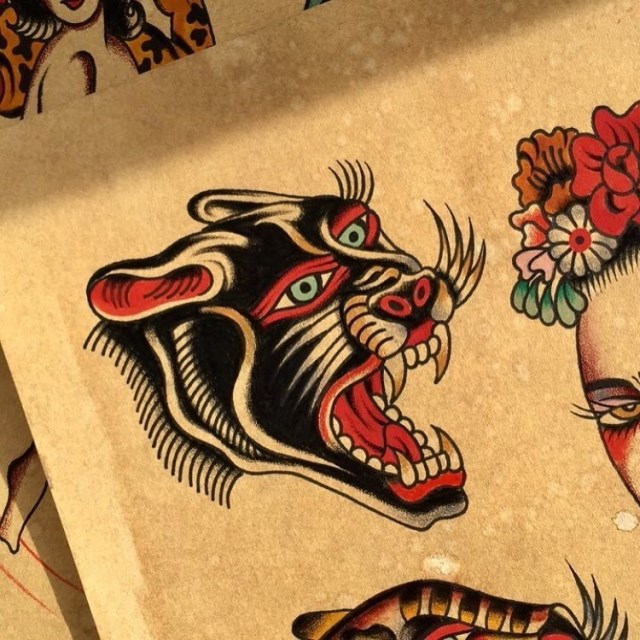 traditional panther tattoo 54