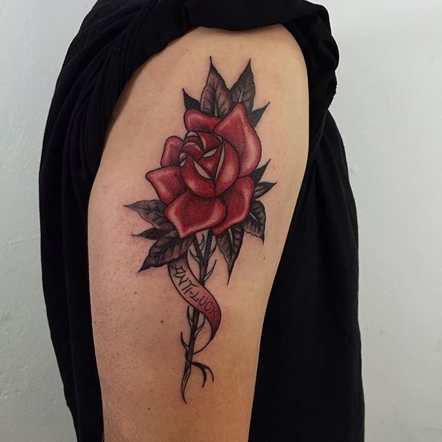Traditional Rose Tattoo 14
