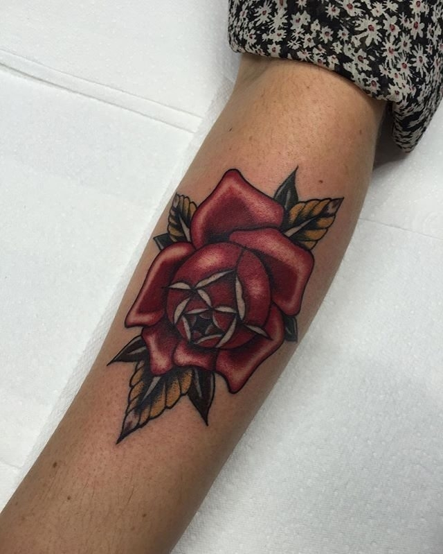 Traditional Rose Tattoo 17