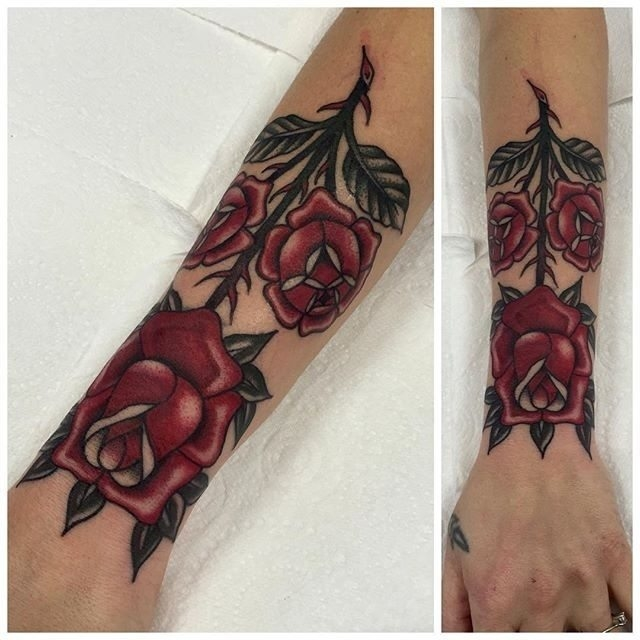 Traditional Rose Tattoo 19