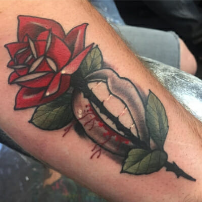 Traditional Rose Tattoo 35