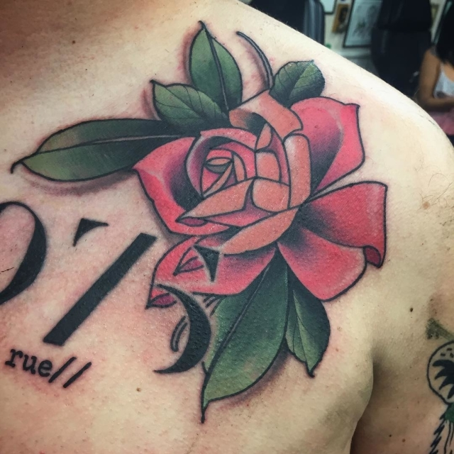 Traditional Rose Tattoo 37
