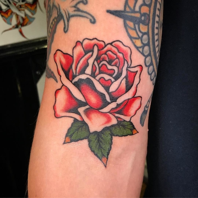 Traditional Rose Tattoo 39
