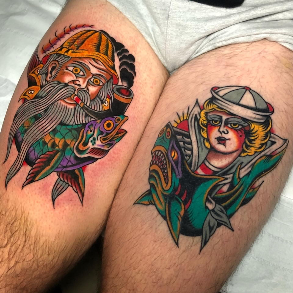 Traditional Sailor Thigh Tattoos