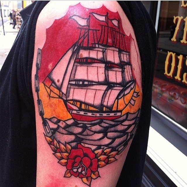 Traditional Ship Tattoo 02