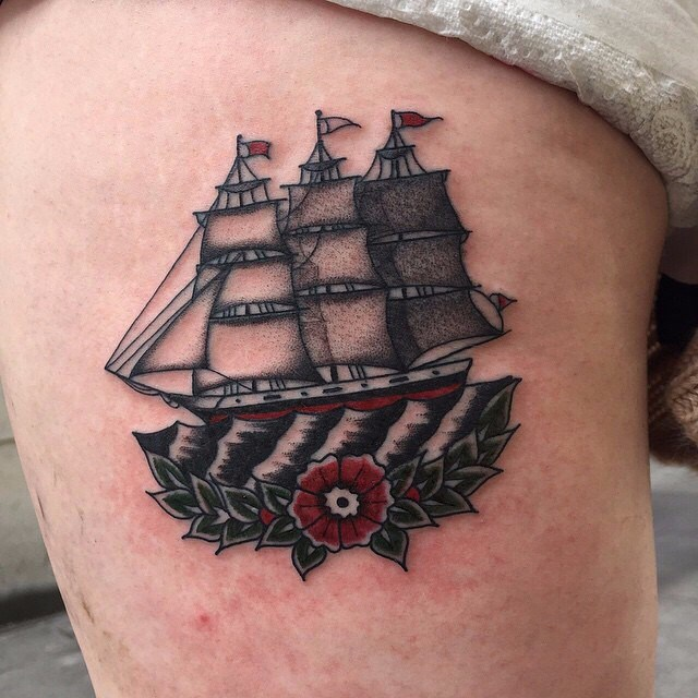 traditional ship tattoo 06