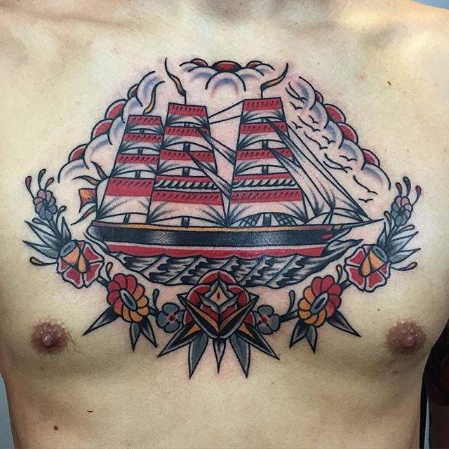 traditional ship tattoo 13