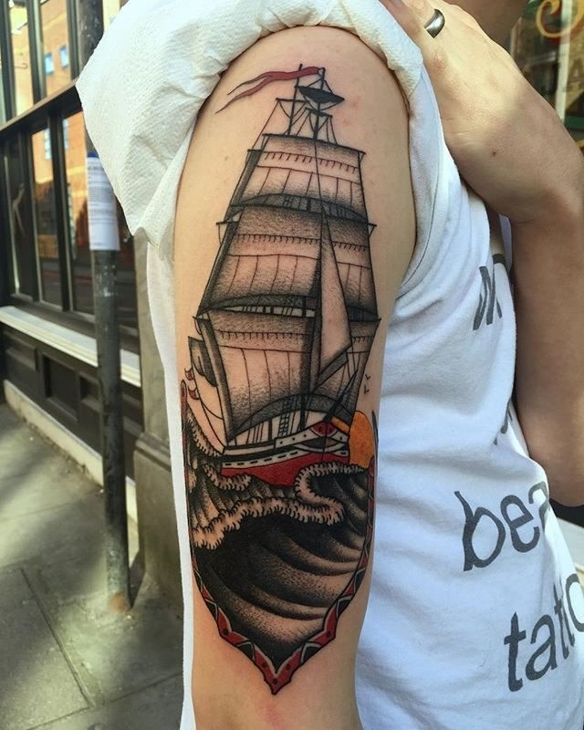 Traditional Ship Tattoo 16