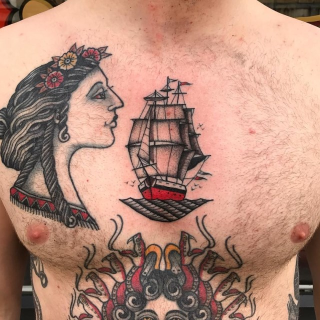 traditional ship tattoo 24