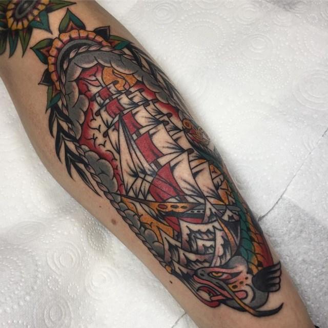 Traditional Ship Tattoo 31