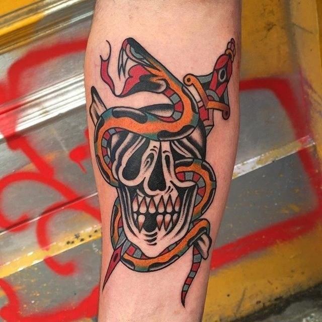 Traditional Skull Tattoo 08