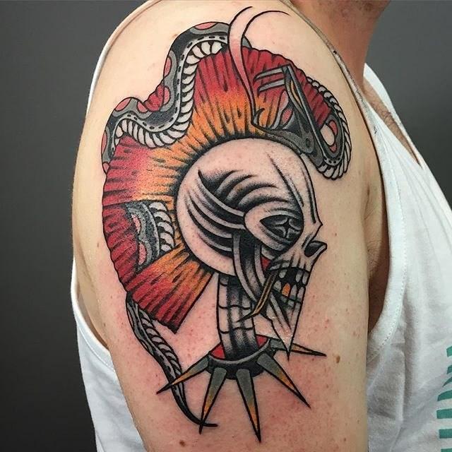 traditional skull tattoo 19