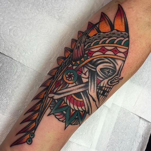 traditional skull tattoo 22
