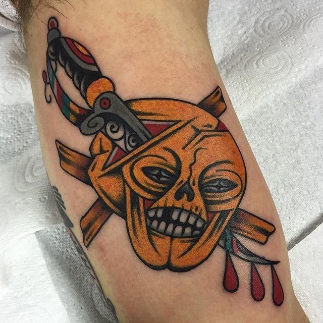 traditional skull tattoo 26