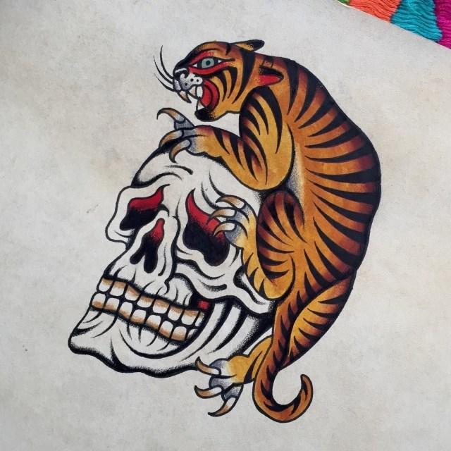 traditional skull tattoo 40