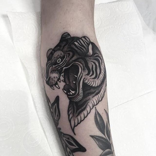 Traditional Tiger Tattoo 06