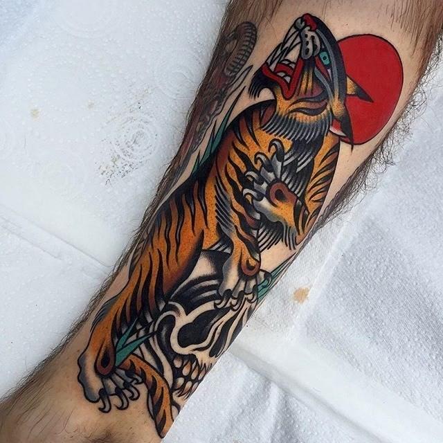 Traditional Tiger Tattoo 14