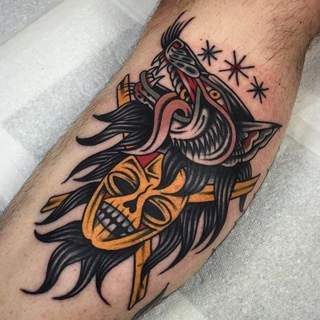 traditional wolf tattoo 05