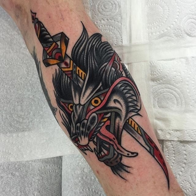 traditional wolf tattoo 06