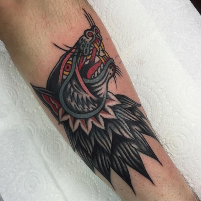 traditional wolf tattoo 17