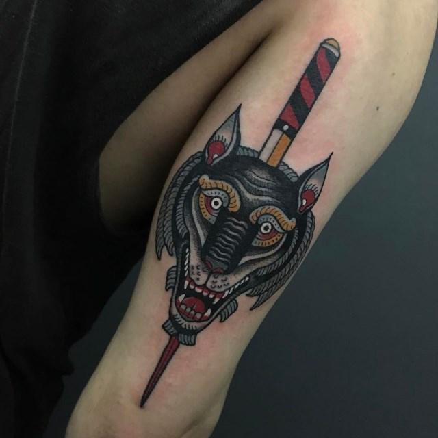 traditional wolf tattoo 18