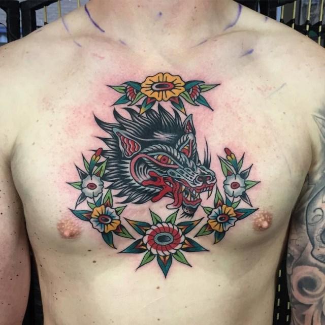 traditional wolf tattoo 19
