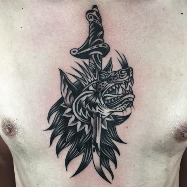 traditional wolf tattoo 31